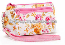 Nice rose flower printing double zipper bag cosmetic bag fit for beautiful girl
