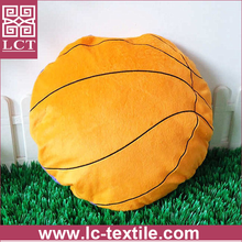 supply unique 2 in 1 folding blanket design 100% micro plush basketball shaped ball pillow with custom printing(LCTP0155)
