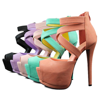 European Sexy Lady's Open Toe Platform Pumps 14cm Stiletto Thin Heel Party Shoes 6 Colors Free Shipping