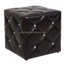 Ottoman with diamond buttons crystal,folding storage ottoman