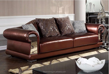 FS108 contemporary brown luxury Italian leather stainless steel modern Crystal living room European executive visiting sofa