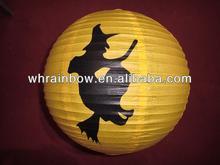 La decoración de halloween linterna de papel, vuelo bruja