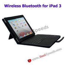 3 in 1 Carbon Fiber Leather Stand Case for the New iPad with Wireless Bluetooth Keyboard Covers