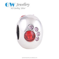 Red Pink Crystal Covered Paw Print Charms Fine 925 Sterling Silver Bulk Charms Wholesale X072