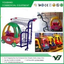 Hot sell good cheap zinc with powder plastic basket cartoon child shopping cart with PU wheel (YB-G001)