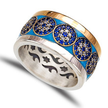 Top Quality Turkish Wholesale Fashion Rhodium Plated Jewelry, Evil Eye 925 Sterling Silver Ring