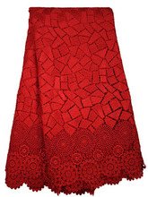 African Guipure Lace Fabrics Cord Lace In Red Color Wholesale MS2