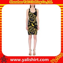 Fashionable customized new model sleeveless cotton/spandex printing tight women dresses summer