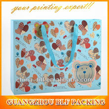 (BLF-PB309)full color printing riboon paper cloth carrying bag