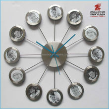 Wall Clock with multi Photo Frame Round Shape Clock Colorful Aluminium Pictures Frame