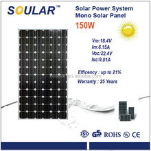 High Efficency Mono Solar Panel for Home Use with CEC, CE, TUV, RoHS approved (150 watt)