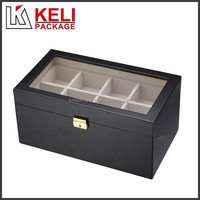 PVC window wooden watch box with compartments