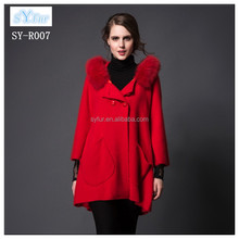 fashion long style ladies 100% wool coat girls long mink fur collar cashmere coat and winter woolen poncho