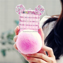 New Design crytsal phone case women Lxuxry crystal mouse ear cell phone case mobile phone accessories guang Case for iphone 6