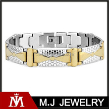 2015new design stainless steel gold&silver tone bracelet for men