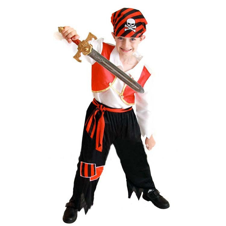 Boy Pirate Costume Fancy Dress Buccaneer Cosplay Outfit Birthday Party Halloween Children'Day Christmas Kids