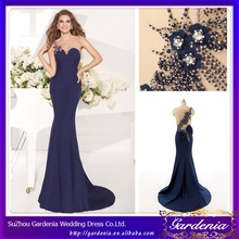 Real Sample One-shoulder Blue Beaded Wholesale Sexu Back Open Turkish Evening Dresses From Dubai (ZX011)