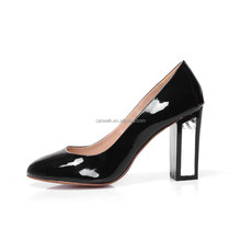 British style women thick shoes Elegant black heels office working shoes pumps logo for free