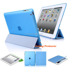 magnetic leather slim smart cover for ipad 4 3 2 case +crystal transparent hard back protect skin shell case