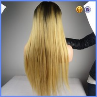 Ombre Color Full Lace Wigs Indian Virgin Hair Dark Root Tone Blonde Three Part Lace Wig