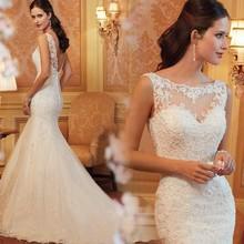 New Arrival Luxury Custom Made Mermaid Bateau Sexy Backless White/Ivory Lace Wedding Dress 2015
