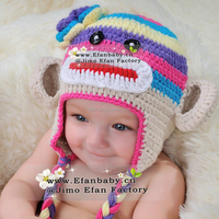 Handmade Knitted Baby Monkey Hat Animal Beanies Photography Props Baby Hat Kids Winter Cap