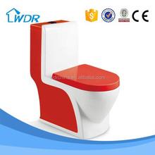 Hotel bathroom design red color power flush toilet