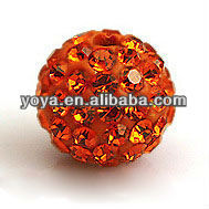 CP5060-15 Red Light Czech Crystal Pave Clay Shamballa Beads
