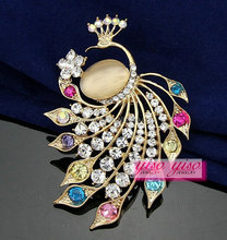 fashion jewelry peacock crystal brooch