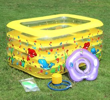 Green inflatable swimming pools for baby indoor sports with neck float