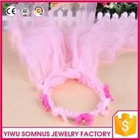 Chinese wedding girls hair flower accessories fabric hair bands net dress plastic shinny jewelry acrylic beads C6