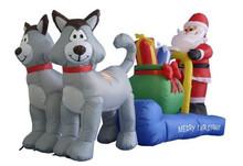 NEW 6.5 Feet Christmas Inflatable Santa Claus Husky Dog Outdoor Yard Decoration
