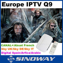 XBMC Android TV Box Q9 with Europe IPTV account enjoy 650+channels by QHDTV,it also support Engima2 Mag 250/MAG 254/MAG 260