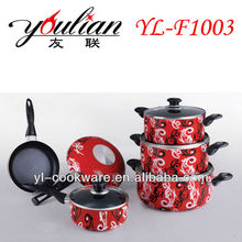 10PCS Aluminum Non-stick Cookware Sets With Decal