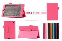 High Quality Lychee PU Leather Case with Stand For Amazon Kindle Fire HD 6 (2014)