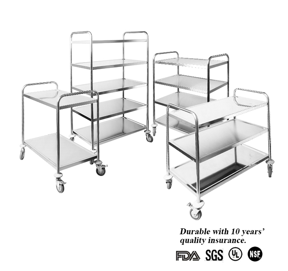 Stainless steel serving trolley service cart hotel room for Hotel room service cart