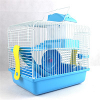 Hamster Gerbil Mouse Cage House 2 Storey Pet Nest bedroom Water Bottle Wheel Slide 28x21x31cm