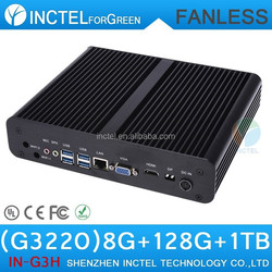 Intel H87 fanless mini itx case with Intel Pentium Dual Core G3220 3.0Ghz CPU VGA Windows7 Linux 8G RAM 120G SSD 1TB HDD