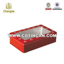 Tin box with PET/PVC window for gift packaging wholesale