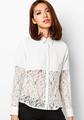 novo design de renda de manga comprida bloco chiffon blusa branca