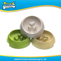 2015 High Quality Eco Friendly Anti Skid Natural Straw Plastic Slow Food Feeder Pet Bowl Dog Bowl