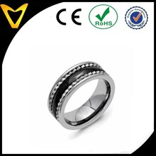 Fashion 3 in 1 Side Mounted Stainless Steel Combination of Pure Titanium And Black Ceramic Ring