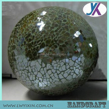 Iridescent Colored Large Garden Ornament Glass Crackle Mosaic Ball
