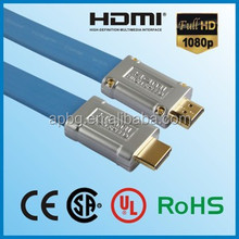 APBG free sample factory price 19PIN TO 19PIN oem flat hdmi cable with metal case.