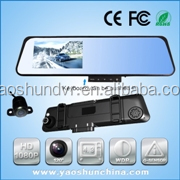 4.3''Big screen 140 Degree angle Dual lens Support LED&GPS and Packing view car back camera Slim house and Hidden keys