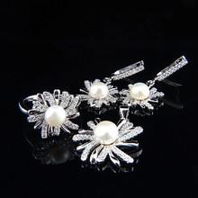 stylish wedding silver jewelry set,New design women beautiful pearl earrings, ring, pendant set,