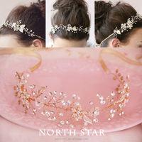 wholesale Ornate pearls and crystal headband bridal jewelry