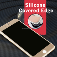 Unique Silicone Edge Design 2.5D Curve Anti-Shock Privacy Tempered Glass Screen Protector For Iphone 6