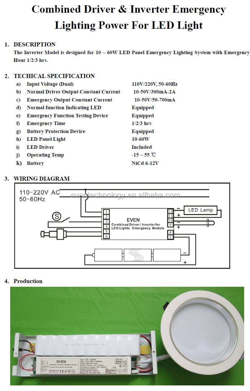 12v Dc Led Emergency Module Power Pack Installed In Aluminum Box For Mh Lamp Wiring Diagram 30w Combined Driverinverter