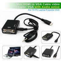 New MINI HDMI CableType C mini hdmi to vga converter with audio Cable Adapter,Mini VGA to HDMI Converter with audio HDMI to VGA
